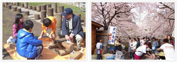 相模原市民桜まつり木工体験や模擬店